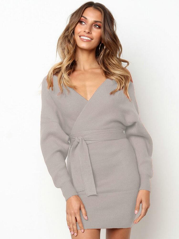 Bat Sleeve V Neck Belted Sheath MiniSweater Dress