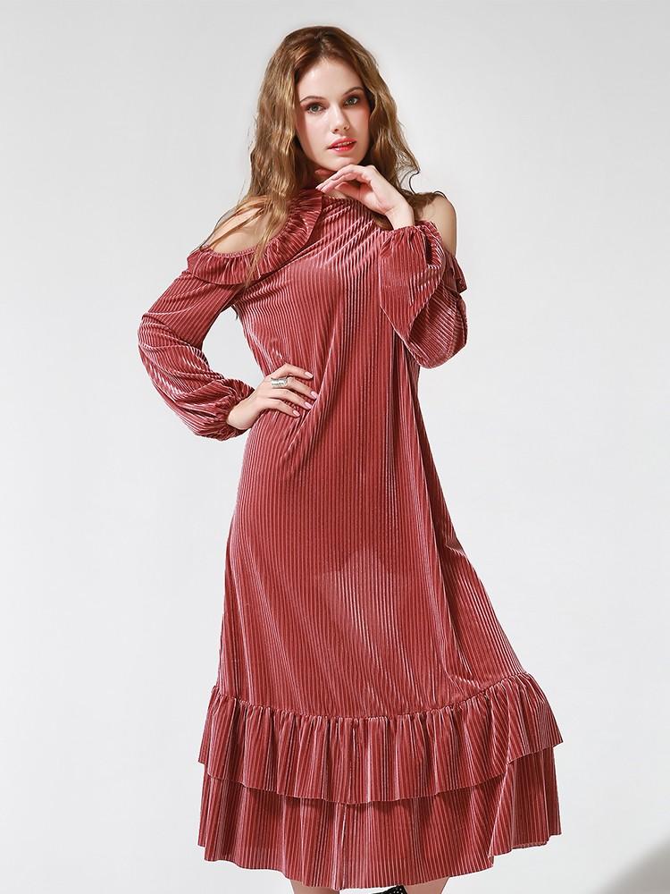 Lantern Sleeve Slash Neck Draped Fall Dress