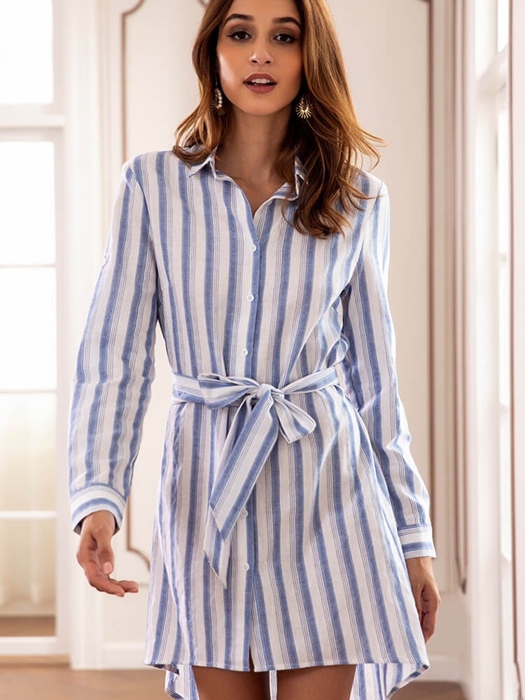 Long Sleeves Cotton Striped Fall Shirt Dresses